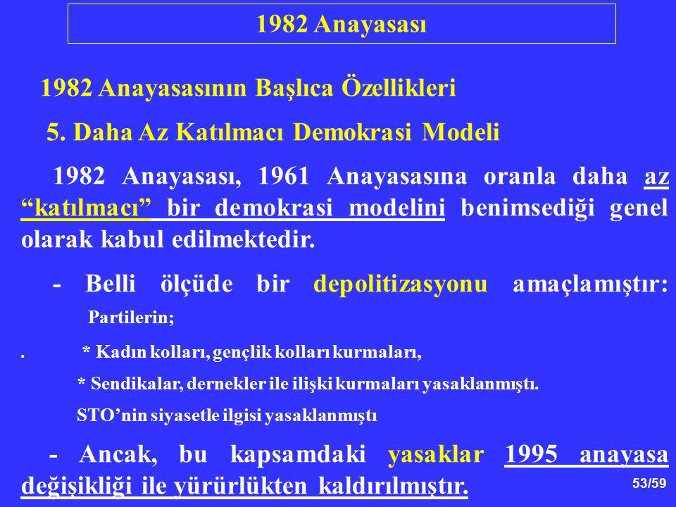 """53/59 1982 Anayasasının Başlıca Özellikleri 5. Daha Az Katılmacı Demokrasi Modeli 1982 Anayasası, 1961 Anayasasına oranla daha az """"katılmacı"""" bir demo"""