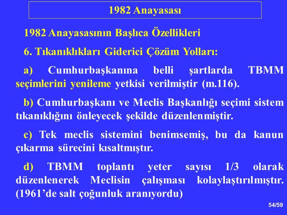 54/59 1982 Anayasasının Başlıca Özellikleri 6. Tıkanıklıkları Giderici Çözüm Yolları: a) Cumhurbaşkanına belli şartlarda TBMM seçimlerini yenileme yet