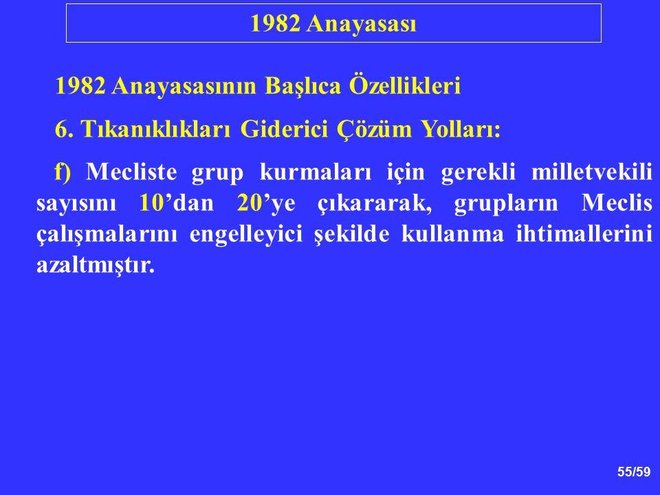 55/59 1982 Anayasasının Başlıca Özellikleri 6. Tıkanıklıkları Giderici Çözüm Yolları: f) Mecliste grup kurmaları için gerekli milletvekili sayısını 10