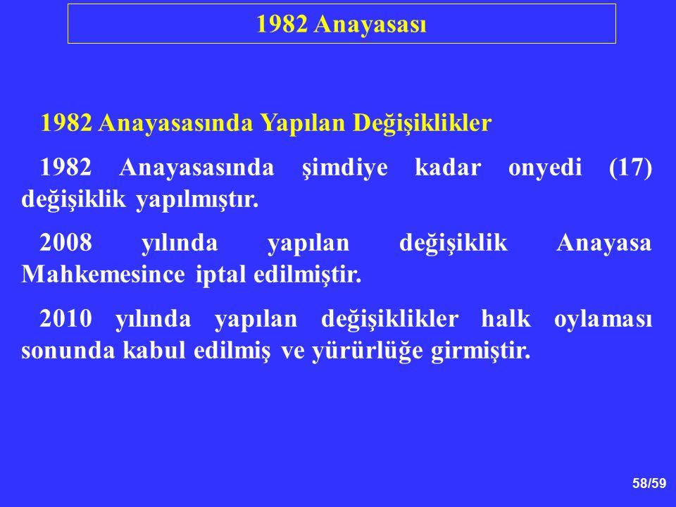 58/59 1982 Anayasasında Yapılan Değişiklikler 1982 Anayasasında şimdiye kadar onyedi (17) değişiklik yapılmıştır. 2008 yılında yapılan değişiklik Anay