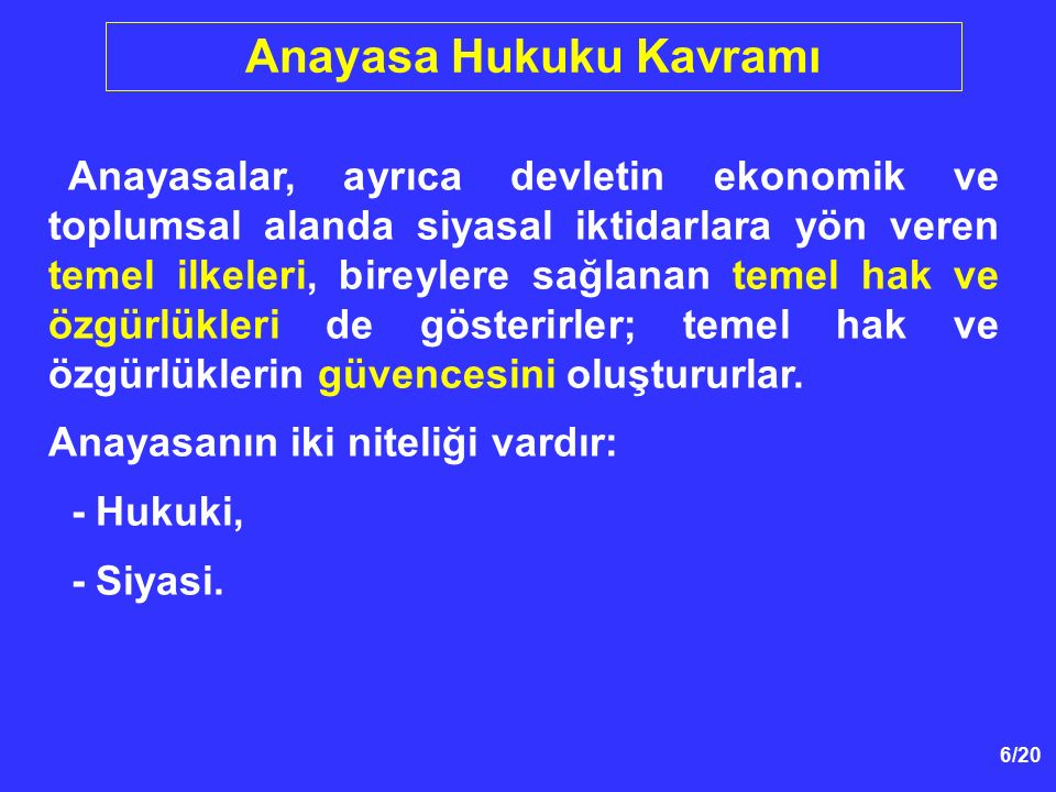 107/39 Hürriyet - Otorite Dengesi Türk anayasa hukuku doktrininde yaygın olarak, - 1982 Anayasasının hürriyet-otorite ikilisinde otoriteden yana tercihini yaptığı, - 1982 Anayasasının 1961 Anayasasına oranla daha az hürriyetçi olduğu söylenmektedir.