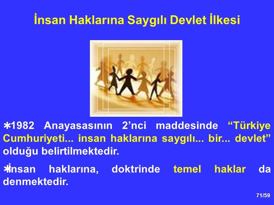 """71/59 İnsan Haklarına Saygılı Devlet İlkesi  1982 Anayasasının 2'nci maddesinde """"Türkiye Cumhuriyeti... insan haklarına saygılı... bir... devlet"""" old"""