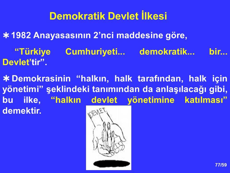 """77/59 Demokratik Devlet İlkesi  1982 Anayasasının 2'nci maddesine göre, """"Türkiye Cumhuriyeti... demokratik... bir... Devlet'tir"""".  Demokrasinin """"hal"""