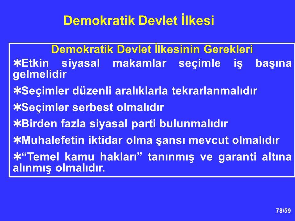 78/59 Demokratik Devlet İlkesi Demokratik Devlet İlkesinin Gerekleri  Etkin siyasal makamlar seçimle iş başına gelmelidir  Seçimler düzenli aralıkla
