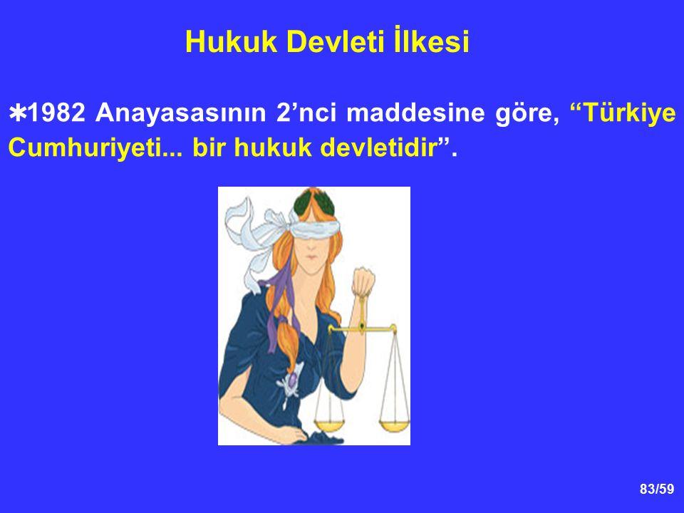"""83/59 Hukuk Devleti İlkesi  1982 Anayasasının 2'nci maddesine göre, """"Türkiye Cumhuriyeti... bir hukuk devletidir""""."""