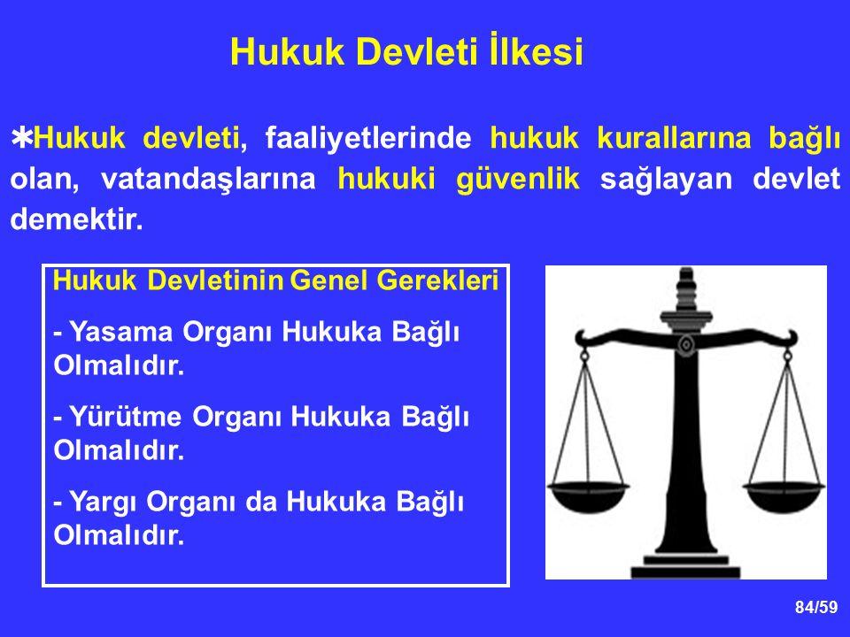 84/59 Hukuk Devleti İlkesi Hukuk Devletinin Genel Gerekleri - Yasama Organı Hukuka Bağlı Olmalıdır. - Yürütme Organı Hukuka Bağlı Olmalıdır. - Yargı O