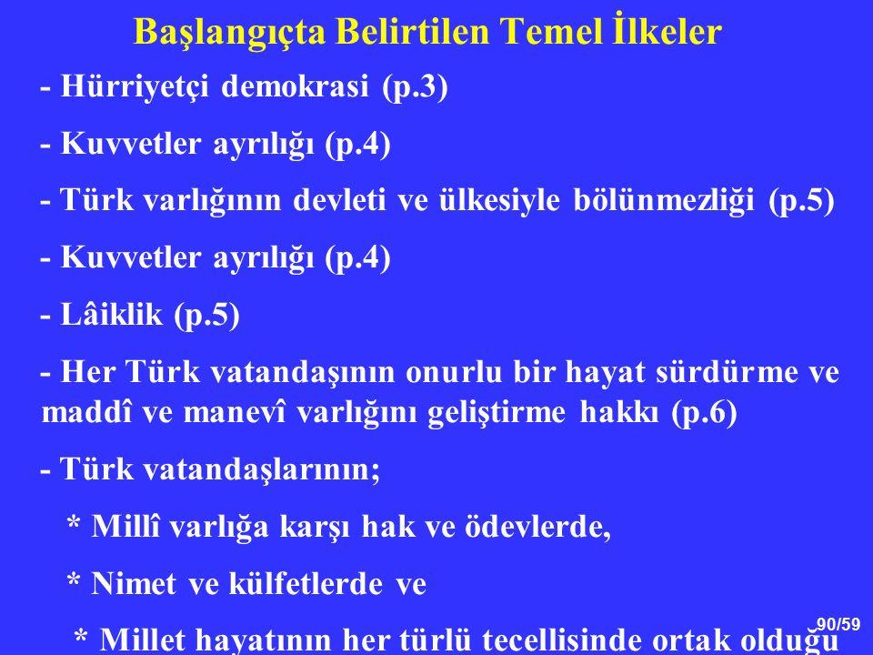 90/59 Başlangıçta Belirtilen Temel İlkeler - Hürriyetçi demokrasi (p.3) - Kuvvetler ayrılığı (p.4) - Türk varlığının devleti ve ülkesiyle bölünmezliği