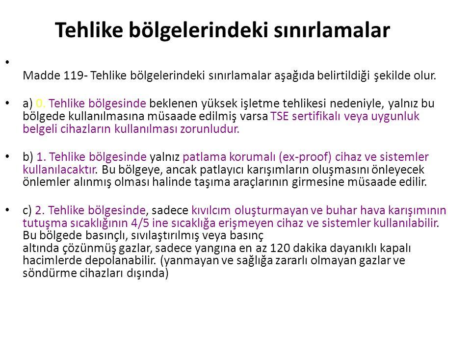 Tehlike bölgelerinin tanımları Madde 118- Tehlike bölgeleri üçe ayrılır.