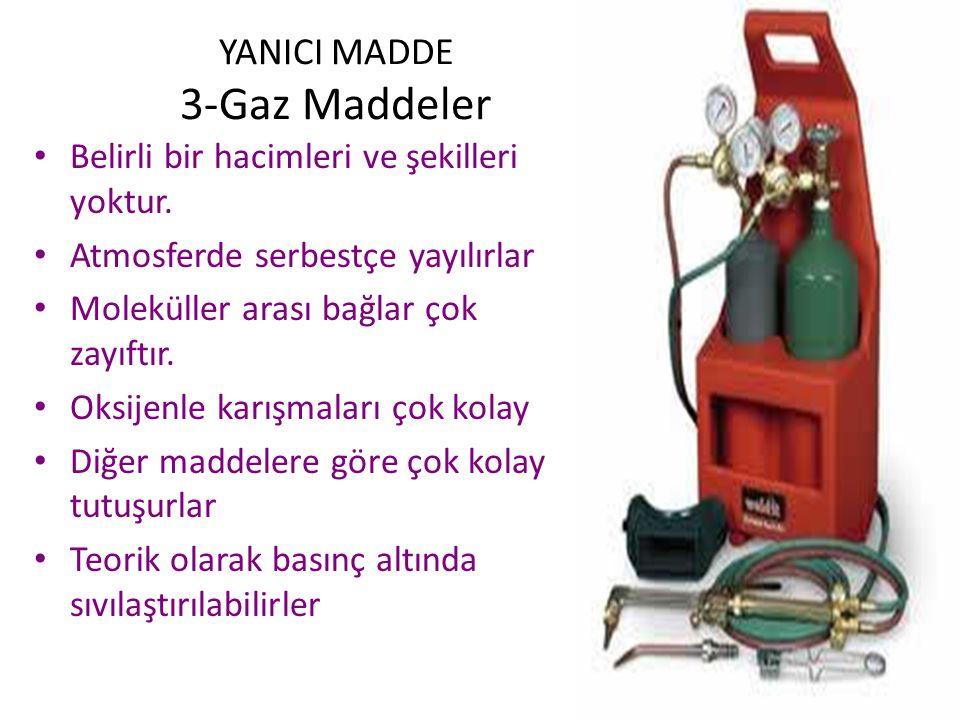 YANICI MADDE 2-Sıvı Maddeler Belirli bir hacmi vardır ama Bulundukları kabın şeklini alabilirler Tutuşma buharlarının tutuşması ile olur Moleküler bağ