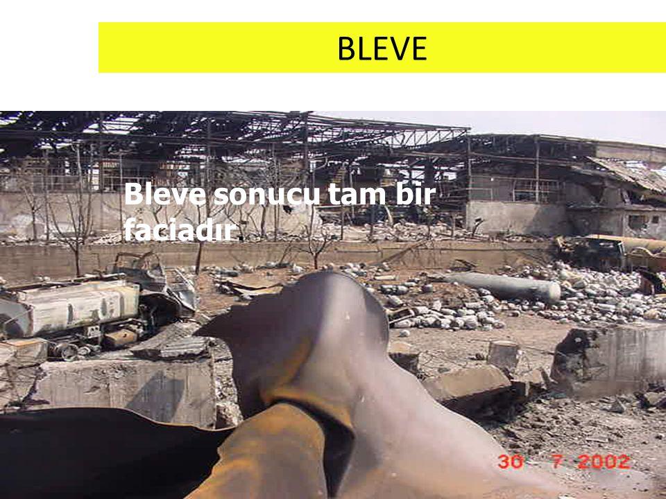 BLEVE Bleve olayını önleyecek tek unsur tanktaki basıncın yeterli hızla boşalmasıdır.