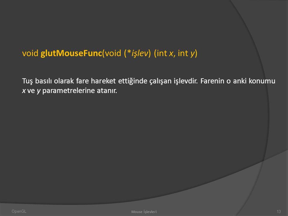 void glutMouseFunc(void (*işlev) (int x, int y) Tuş basılı olarak fare hareket ettiğinde çalışan işlevdir.