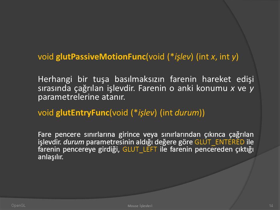 void glutPassiveMotionFunc(void (*işlev) (int x, int y) Herhangi bir tuşa basılmaksızın farenin hareket edişi sırasında çağrılan işlevdir.