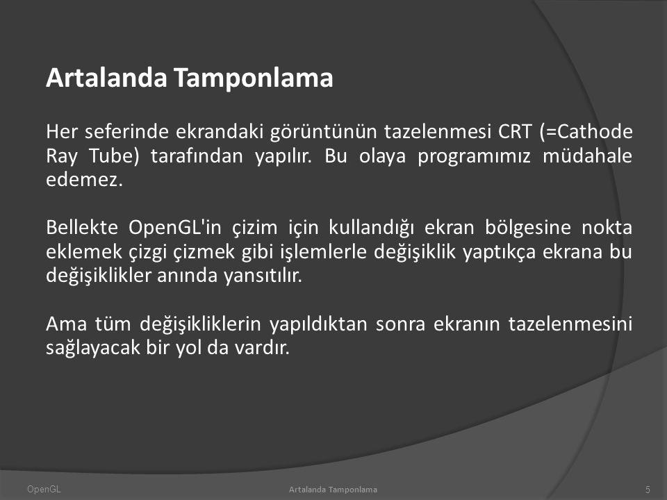 Artalanda Tamponlama Her seferinde ekrandaki görüntünün tazelenmesi CRT (=Cathode Ray Tube) tarafından yapılır.