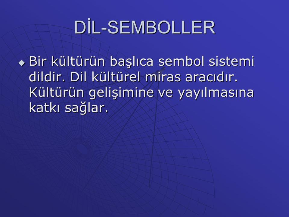 DİL-SEMBOLLER  Bir kültürün başlıca sembol sistemi dildir.