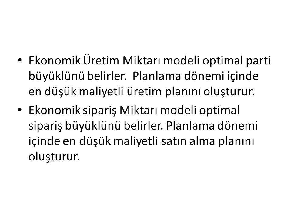 Ekonomik Üretim Miktarı modeli optimal parti büyüklünü belirler. Planlama dönemi içinde en düşük maliyetli üretim planını oluşturur. Ekonomik sipariş