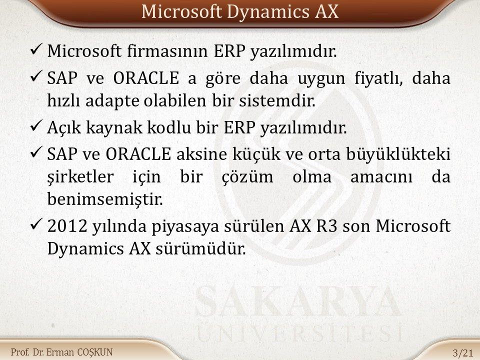 Prof. Dr. Erman COŞKUN Microsoft Dynamics AX Microsoft firmasının ERP yazılımıdır. SAP ve ORACLE a göre daha uygun fiyatlı, daha hızlı adapte olabilen