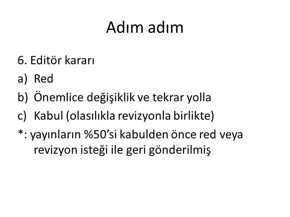Adım adım 6. Editör kararı a)Red b)Önemlice değişiklik ve tekrar yolla c)Kabul (olasılıkla revizyonla birlikte) *: yayınların %50'si kabulden önce red