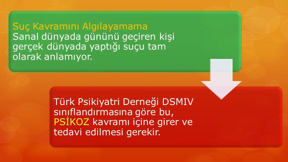 Suç Kavramını Algılayamama Sanal dünyada gününü geçiren kişi gerçek dünyada yaptığı suçu tam olarak anlamıyor. Türk Psikiyatri Derneği DSMIV sınıfland
