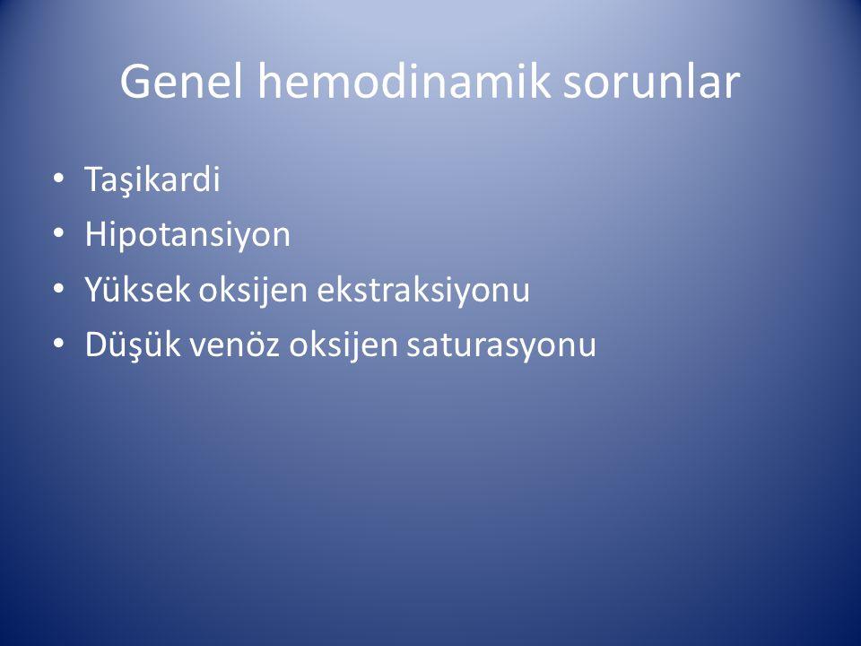 Genel hemodinamik sorunlar Taşikardi Hipotansiyon Yüksek oksijen ekstraksiyonu Düşük venöz oksijen saturasyonu