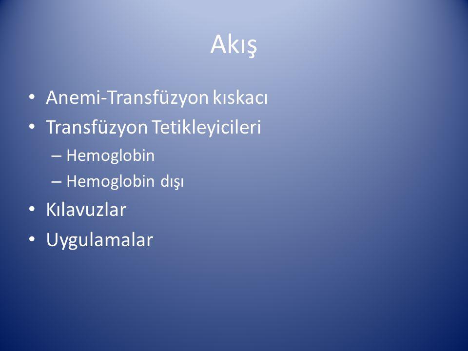 Sonuç ve Özet Anemi ve transfüzyon ayrı ayrı tehlikeli Bir arada olunca tehlike artıyor «Hasta Kan Yönetimi» Hemoglobine dayalı transfüzyon stratejisi Yetersiz oksijenasyona dayalı transfüzyon stratejisi...