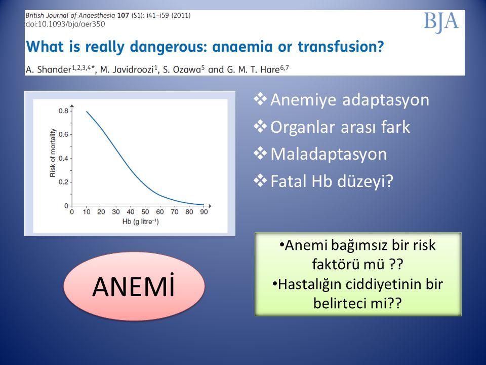  Anemiye adaptasyon  Organlar arası fark  Maladaptasyon  Fatal Hb düzeyi.