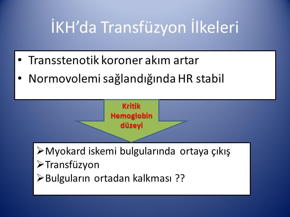 İKH'da Transfüzyon İlkeleri Transstenotik koroner akım artar Normovolemi sağlandığında HR stabil  Myokard iskemi bulgularında ortaya çıkış  Transfüzyon  Bulguların ortadan kalkması .