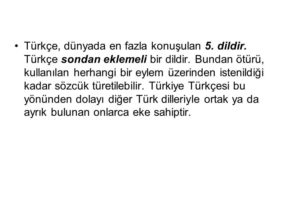 Türkçe, dünyada en fazla konuşulan 5. dildir. Türkçe sondan eklemeli bir dildir. Bundan ötürü, kullanılan herhangi bir eylem üzerinden istenildiği kad