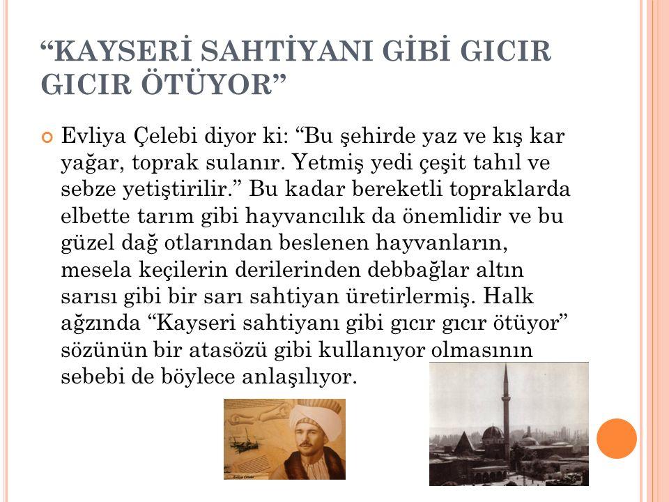 """KAYSERİ'NİN BEYAZ UNU, SUCUĞU VE PASTIRMASI Asıl şöhret ise 363 yıl önce de sucuğa ve pastırmaya veriliyor. Evliya Çelebi """"kimyonlu ve baharatlı et su"""