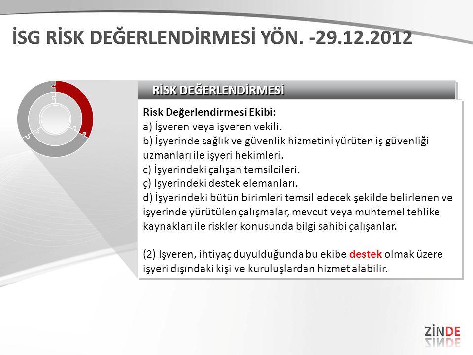 RİSK DEĞERLENDİRMESİ Risk Değerlendirmesi Ekibi: a) İşveren veya işveren vekili. b) İşyerinde sağlık ve güvenlik hizmetini yürüten iş güvenliği uzmanl
