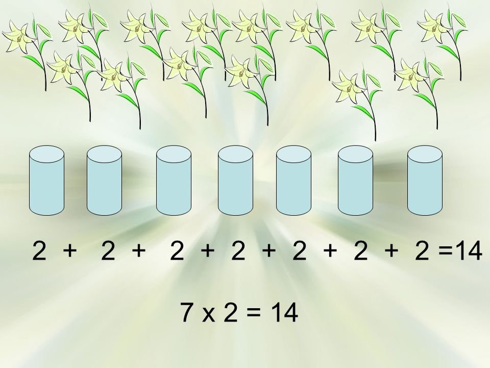 2 + 2 + 2 + 2 + 2 + 2 + 2 =14 7 x 2 = 14