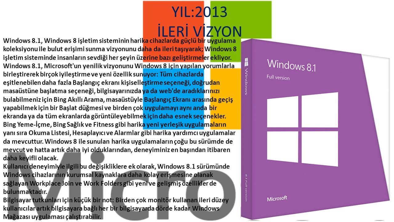 Windows 8, yonga kümesinden tutun kullanıcı deneyimine kadar baştan yaratılan bir işletim sistemi ve hem dokunarak hem de fare ve klavyeyle sorunsuzca kullanılabilen yepyeni bir arabirime sahip.