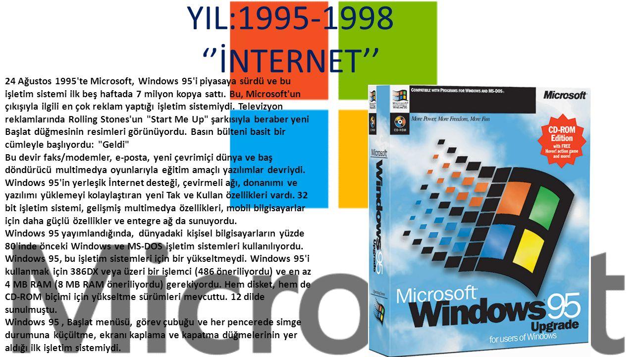 YIL:1990-1994 GRAFİKLERİN ORTAYA ÇIKIŞI 22 Mayıs 1990 tarihinde, Microsoft tarafından Windows 3.0 ın ve hemen ardından, 1992 yılında, Windows 3.1 in tanıtımı yapıldı.
