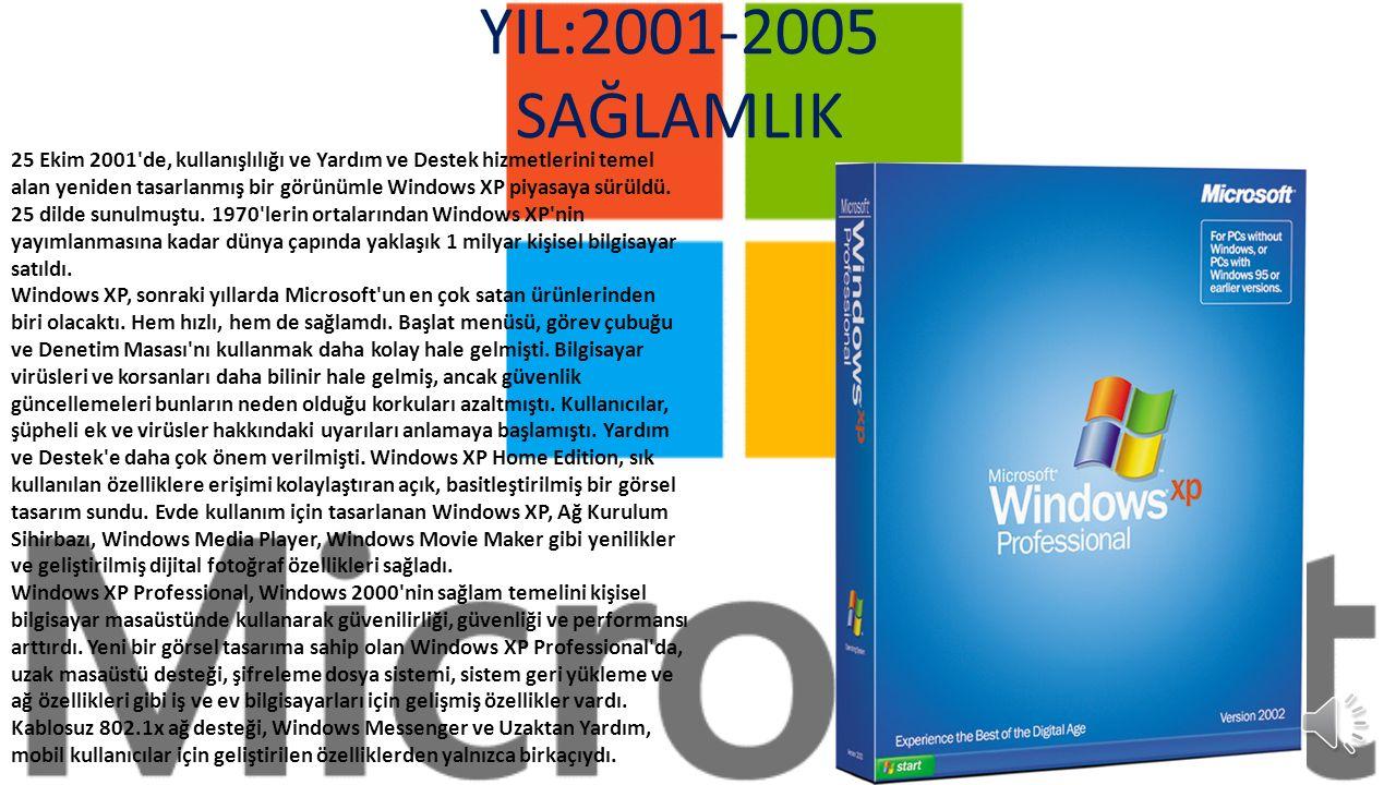 YIL:1998-2000 SON «NT» Windows NT Workstation 4.0 a yönelik bir yükseltmenin çok ötesinde olan Windows 2000 Professional, iş için kullanılan tüm masaüstü ve dizüstü bilgisayarlarda Windows 95, Windows 98 ve Windows NT Workstation 4.0 ın yerini almak üzere tasarlanmıştı.