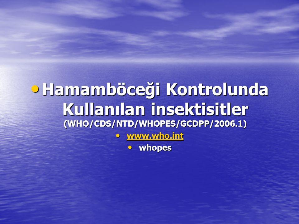 Hamamböceği Kontrolunda Kullanılan insektisitler (WHO/CDS/NTD/WHOPES/GCDPP/2006.1) Hamamböceği Kontrolunda Kullanılan insektisitler (WHO/CDS/NTD/WHOPE