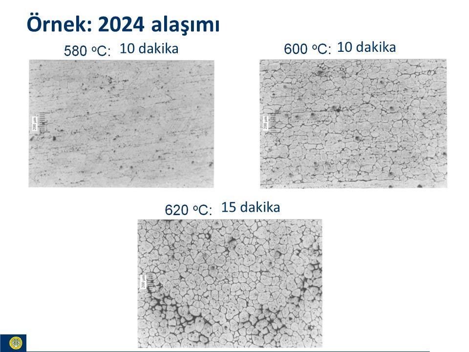 Materials and Chemistry İstanbul Üniversitesi Metalurji ve Malzeme Mühendisliği İstanbul Üniversitesi Metalurji ve Malzeme Mühendisliği Örnek: 2024 alaşımı 10 dakika 15 dakika