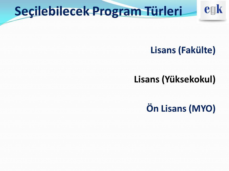 Program Türlerine Göre Giriş Sistemleri ProgramlarGiriş Sistemi/Puan Türü Lisans (Fakülte) Yerleştirme (Y) – LYS Özel Yetenek Sınavları Lisans (Yüksekokul)Yerleştirme (Y) - YGS Ön Lisans (MYO) Yerleştirme (Y) – YGS Sınavsız Geçiş