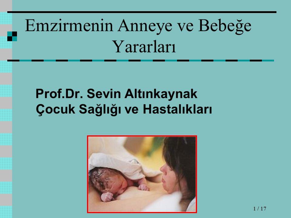 Emzirmenin Anneye ve Bebeğe Yararları Prof.Dr.