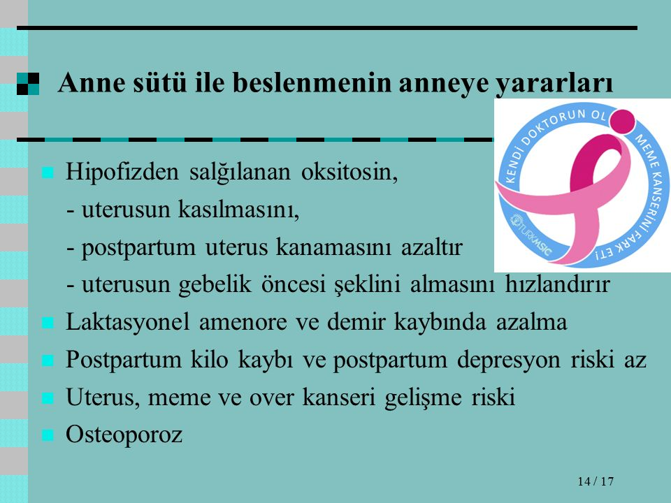Anne sütü ile beslenmenin anneye yararları Hipofizden salğılanan oksitosin, - uterusun kasılmasını, - postpartum uterus kanamasını azaltır - uterusun gebelik öncesi şeklini almasını hızlandırır Laktasyonel amenore ve demir kaybında azalma Postpartum kilo kaybı ve postpartum depresyon riski az Uterus, meme ve over kanseri gelişme riski Osteoporoz 14 / 17