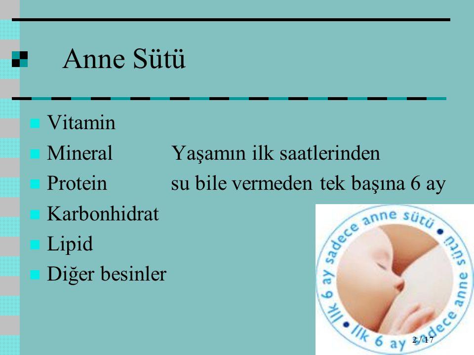 Anne Sütü Vitamin Mineral Yaşamın ilk saatlerinden Protein su bile vermeden tek başına 6 ay Karbonhidrat Lipid Diğer besinler 2 / 17