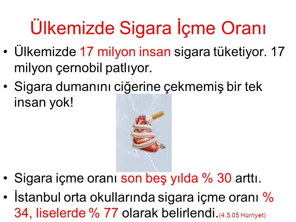Ülkemizde Sigara İçme Oranı Ülkemizde 17 milyon insan sigara tüketiyor.