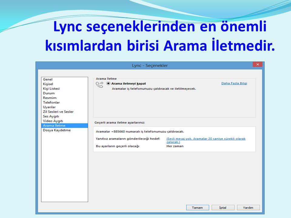 Lync seçeneklerinden en önemli kısımlardan birisi Arama İletmedir.