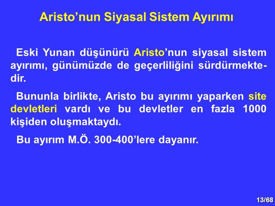 13/68 Eski Yunan düşünürü Aristo'nun siyasal sistem ayırımı, günümüzde de geçerliliğini sürdürmekte- dir. Bununla birlikte, Aristo bu ayırımı yaparken