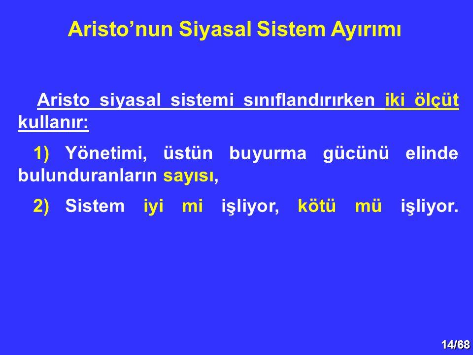 14/68 Aristo siyasal sistemi sınıflandırırken iki ölçüt kullanır: 1)Yönetimi, üstün buyurma gücünü elinde bulunduranların sayısı, 2)Sistem iyi mi işli