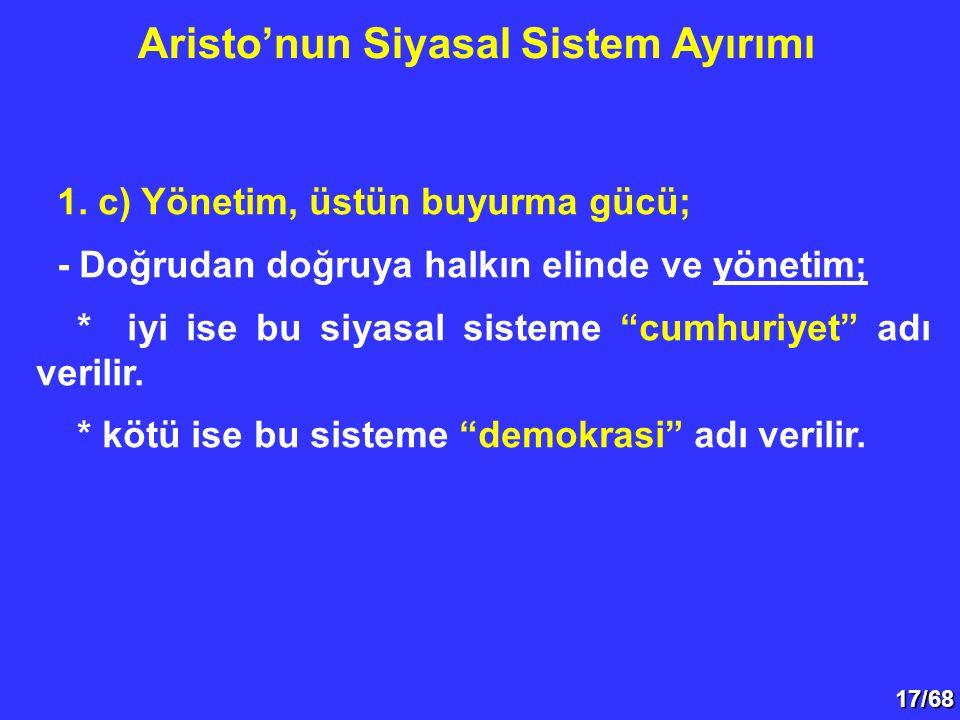"""17/68 1. c) Yönetim, üstün buyurma gücü; - Doğrudan doğruya halkın elinde ve yönetim; * iyi ise bu siyasal sisteme """"cumhuriyet"""" adı verilir. * kötü is"""
