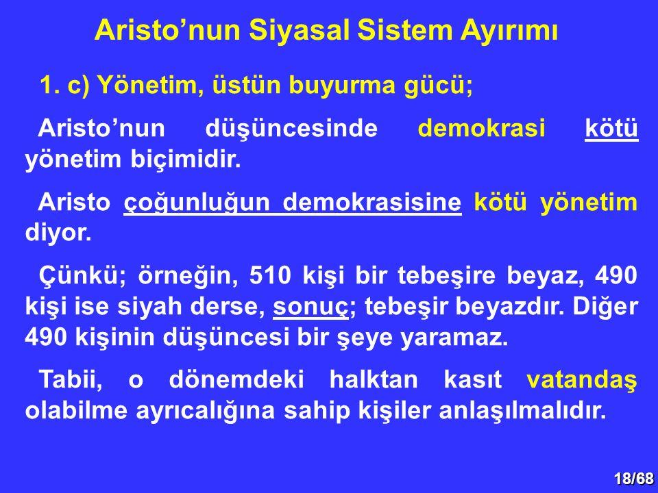 18/68 1. c) Yönetim, üstün buyurma gücü; Aristo'nun düşüncesinde demokrasi kötü yönetim biçimidir. Aristo çoğunluğun demokrasisine kötü yönetim diyor.