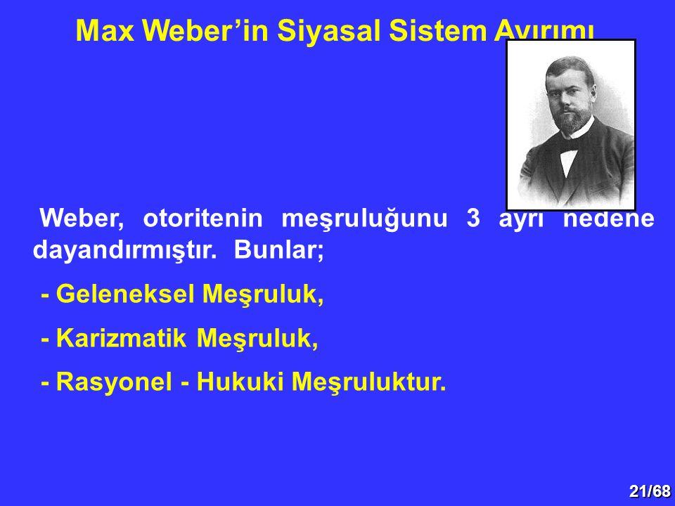 21/68 Weber, otoritenin meşruluğunu 3 ayrı nedene dayandırmıştır. Bunlar; - Geleneksel Meşruluk, - Karizmatik Meşruluk, - Rasyonel - Hukuki Meşruluktu