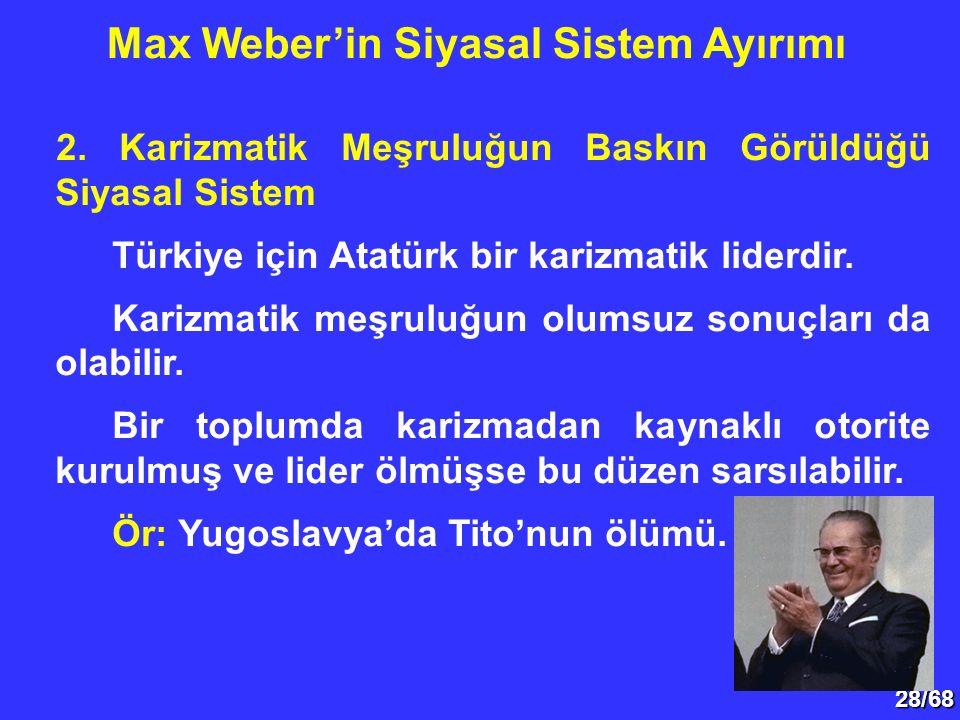 28/68 2. Karizmatik Meşruluğun Baskın Görüldüğü Siyasal Sistem Türkiye için Atatürk bir karizmatik liderdir. Karizmatik meşruluğun olumsuz sonuçları d