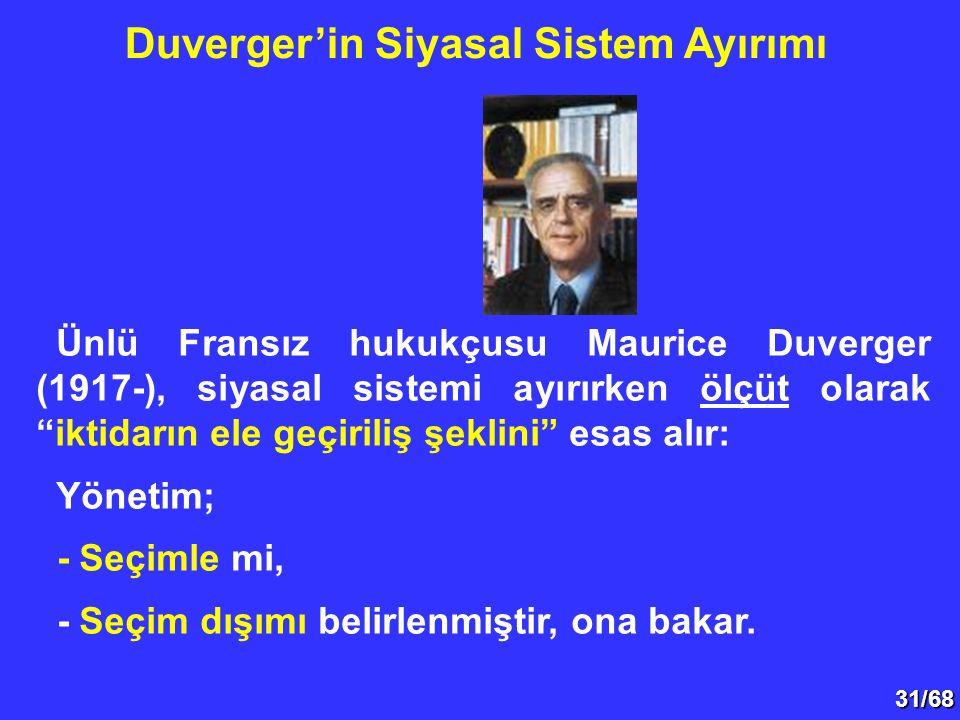 """31/68 Ünlü Fransız hukukçusu Maurice Duverger (1917-), siyasal sistemi ayırırken ölçüt olarak """"iktidarın ele geçiriliş şeklini"""" esas alır: Yönetim; -"""