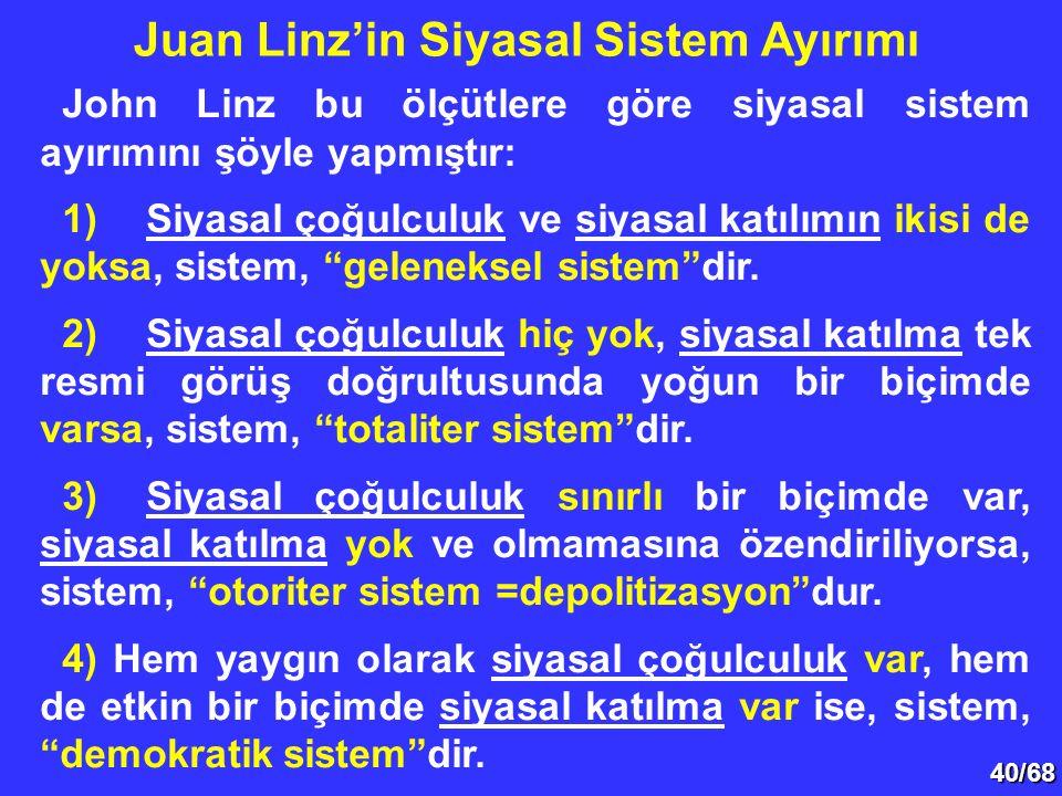 """40/68 John Linz bu ölçütlere göre siyasal sistem ayırımını şöyle yapmıştır: 1)Siyasal çoğulculuk ve siyasal katılımın ikisi de yoksa, sistem, """"gelenek"""
