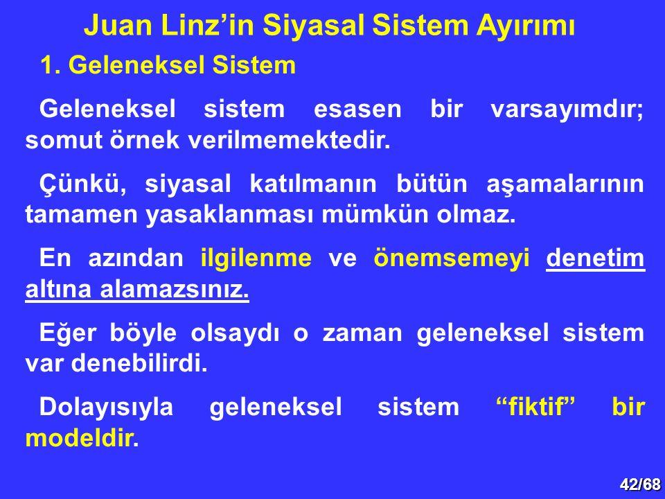 42/68 1. Geleneksel Sistem Geleneksel sistem esasen bir varsayımdır; somut örnek verilmemektedir. Çünkü, siyasal katılmanın bütün aşamalarının tamamen